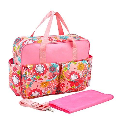 YoungSoul Baby Wickeltaschen Wickelumhängetaschen mit Wickelunterlage und Kinderwagen Haken, Reise Babytasche für kinderwagen Rosa Dame