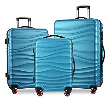 YUTING 3 Piece Luggage Sets Expandable Spinner Suitcase Alloy Impact Level 9