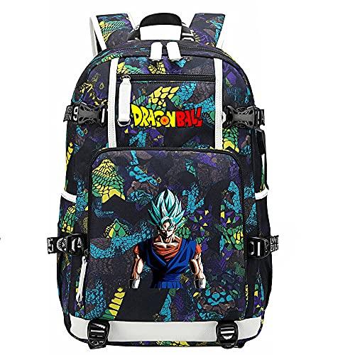 ZZGOO-LL Dragon Ball Son Goku/Vegeta IV/Torankusu Mochilas de Anime Mochila Escolar para Estudiantes Mochila para portátil con Puerto de Carga USB-C