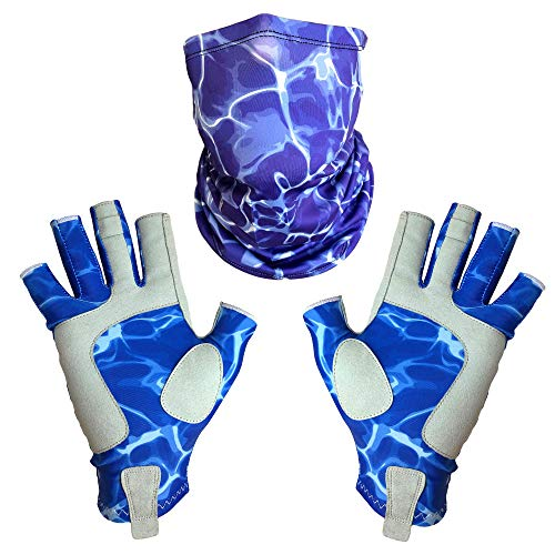 Adept Tackle UPF50+ Blue Fingerless Fishing Gloves for Men and Women with Purple Fishing Neck Gaiter, UV Protection Gloves, Fly Fishing Gloves, Sun Gloves for Kayaking and SUP, Blue and Purple, Medium