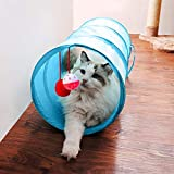 iCAGY Cat Tunnel for Indoor Cats Interactive, Rabbit Tunnel Toys, Pet Toys Play Tunnels for Cats Kittens Rabbits Puppies Crinkle Collapsible Pop Up Sky Blue 20'