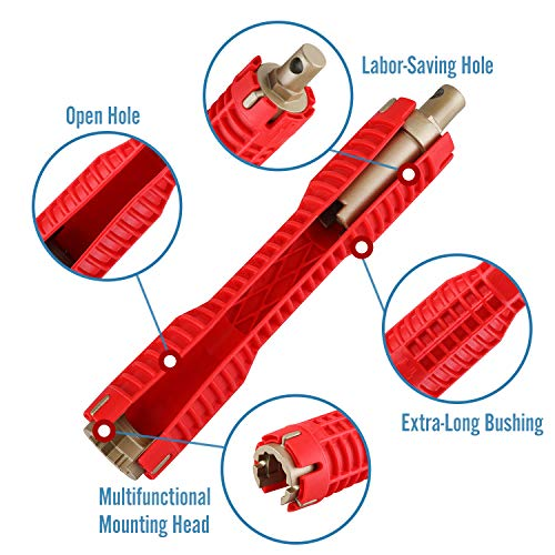 Seven Sparta (8 in 1) Faucet And Sink Installer Multifunctional Faucet Wrench Removal Tool for Toilet Bathroom Kitchen Sink Faucet Basin Pipe Nut Plumbing (Red)
