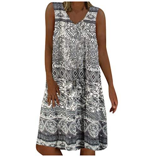 URIBAKY - Vestido de verano para mujer de playa, retro, bohemio, cuello en V, manga corta, sin mangas, estampado floral y casual, talla grande, talla grande, tallas grandes, D-gris., L