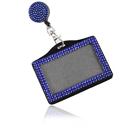 Purely Handmade Fashion Retractable Royal Blue Bling Crystal Strap Neck Lanyard Cute Rhinestone Badge Holder+Jeweled Horizontal Business Name ID Card Holder+Beaded Badge Reel Clip