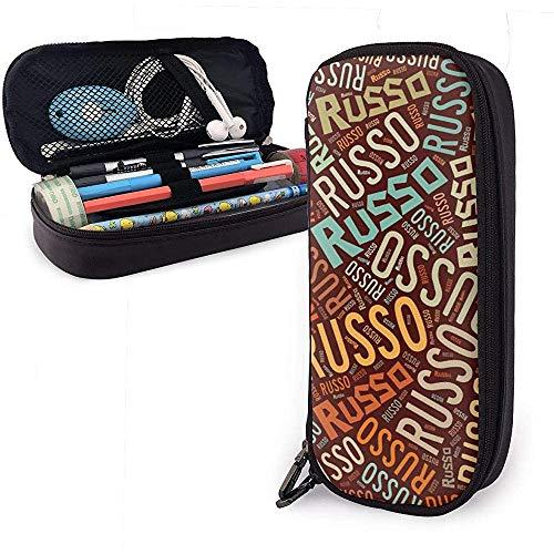 Russo - American Nachname Große Kapazität Leder Federmäppchen Bleistift Stift Schreibwaren Halter Veranstalter College Filzstift Tragbare Kosmetiktasche