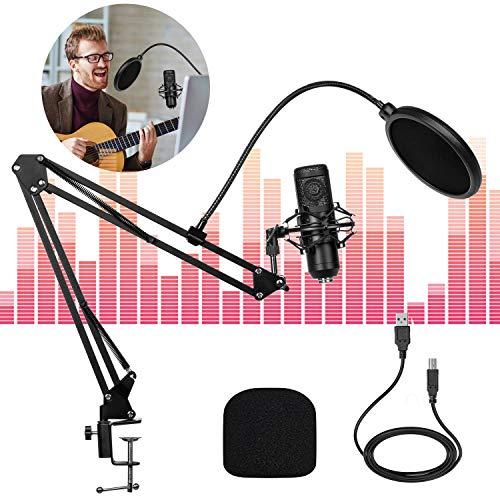 USB Kondensator Mikrofon Kit, USB Streaming Podcast PC Mikrofon Professionelle 192kHz / 24Bit Studio Cardioid Kondensator Mic Kit Mikrofonständer, Popfilter für Skype Aufnahme YouTube Spielen