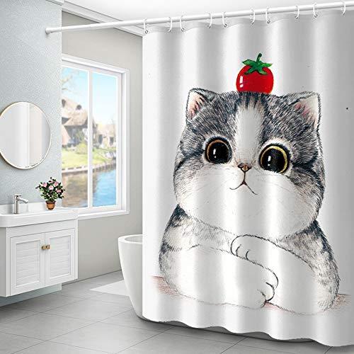 XTUK Home Decor Polyester Cartoon Süße Duschvorhänge Badezimmerdekor Badezimmervorhänge Wasserdichter Punsch Kostenlose WC-Trennwand Verdickung Mehltau Haken Metallösen 150cm*200cm