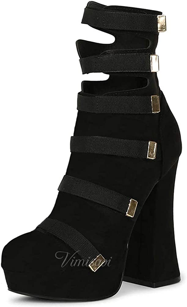 VIMISAOI Platform Ankle Booties for Women, Fashion Chunky High Heel Snakeskin Pattern Mid Calf Boots