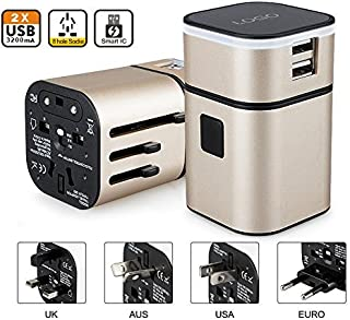 Adaptador Universal Viaje Enchufe Cargador USB Desmontable All-in-One Convertidor de World Travel(Oro)