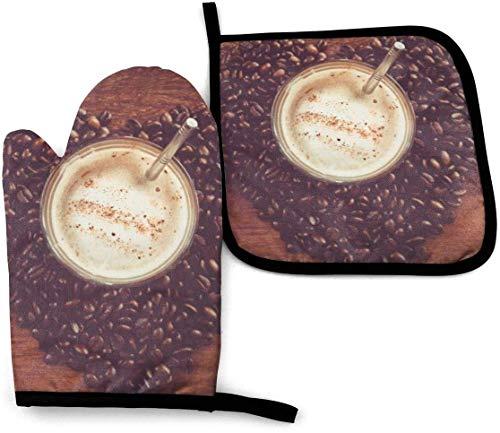LREFON Manopla y Soporte para ollas Heart of Coffee, Placa Caliente Resistente al Calor, agarradera de Guantes de Cocina Antideslizante para cocinar, Hornear, Asar a la Parrilla