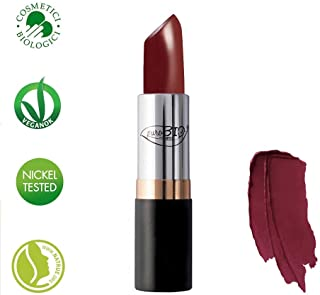 PuroBIO Certified ORGANIC High-pigmented and Long-Lasting Semi-Matte Lipstick with Castor oil, Vitamins and Antioxidants 08 Crimson Red. ORGANIC.NICKEL TESTED, MADE IN ITALY 3.5g