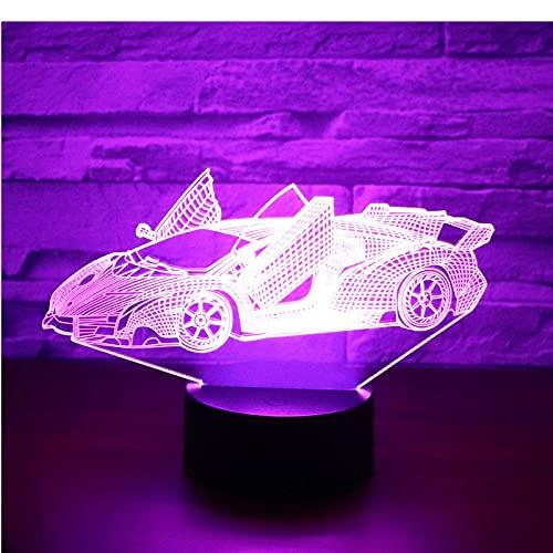 lámpara de ilusión 3D Lámpara De Ilusión Efectos asombrosos de los coches deportivos de alto nivel. decoración de dormitorio regalo lámpara de noche creativa regalo Cambio de color colorido, con