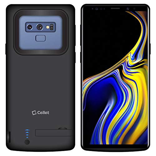 Cellet Battery Case, 5000 mAh Capacity, Rechargeable Battery Case with Kick Stand Compatible for Samsung Galaxy Note 9 - Black