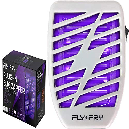 FLYFRY Indoor Bug Zapper for Home Plug in - Electronic Insect Trap - UV Electric Killer - Blue Night Lamp for Mosquitoes Gnats Moths Bugs - Odorless Noiseless - Light Gray