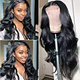 Lace Front Human Hair Wigs Pre Plucked Hairline Bleached Knots 150% Density Brazilian Body Wave Lace Front Wigs Natural Color 16 inch