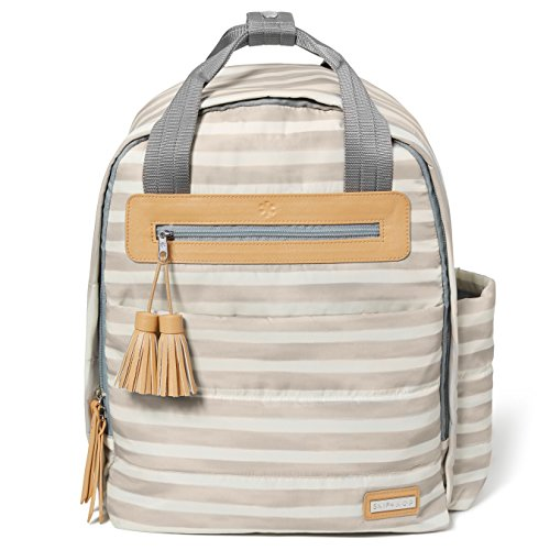 Skip Hop Diaper Bag Backpack with Matching Changing Pad, Riverside Ultra Light, Oyster Stripe