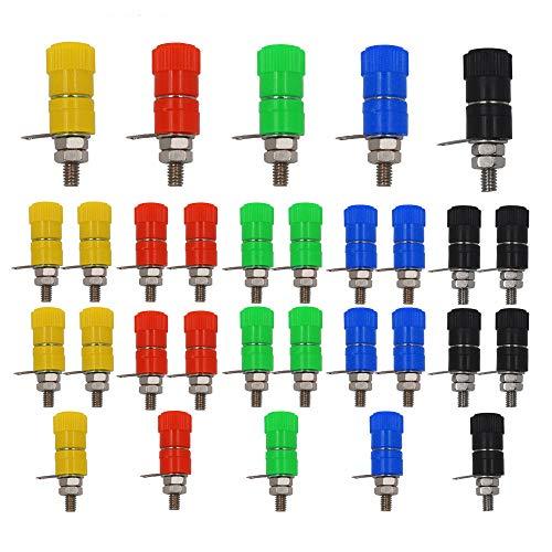 Senven 30Pcs Profession Banana Connector,4mm banane connecteur, Connecteur banane, Connecteur femelle pour panneau banane - 5 couleurs