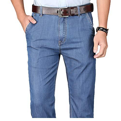 Pantalones Vaqueros de Mezclilla de Corte Recto de Ajuste Regular para Hombre Pantalones Casuales de Negocios Ajustados Rectos de Color sólido elásticos de Verano 38