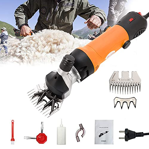 Heionia Juego de tijeras eléctricas para ovejas, 690 W, máquina de esquilar Sheap Clipper para ovejas, animales, 220 V, velocidad ajustable (naranja)