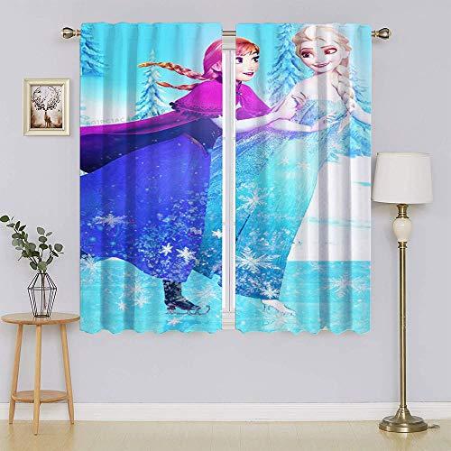 lacencn Frozen 2 Film Elsa Juego de paneles de cortina de lujo para ventana, filtrado de luz, privacidad para mantener caliente cortinas para el pasillo ancho 63 x largo 63