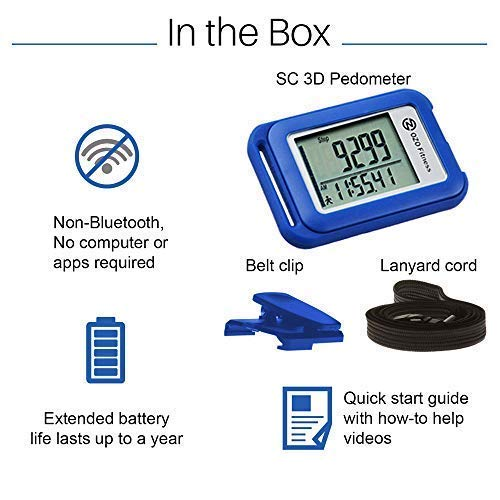 OZO Fitness SC 3D Digital Pedometer | Best Pedometer for Walking. Track Steps & Miles, Calories & Activity Time. Clip on Step Counter for Men, Women & Kids (Lanyard Included) (Blue)