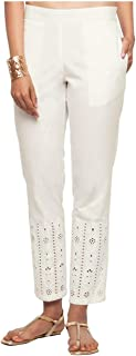 NAARI Off White Cotton Slim Fit Embroidered Cigarette Trousers For Women's