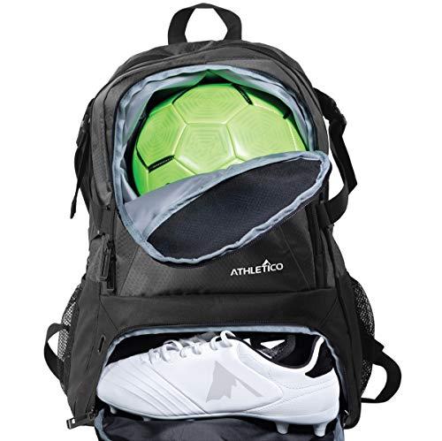 Athletico National Football Bag – Rucksack für Fußball, Basketball & Volleyball inkl. separater Klampe und Ballfächer (schwarz)