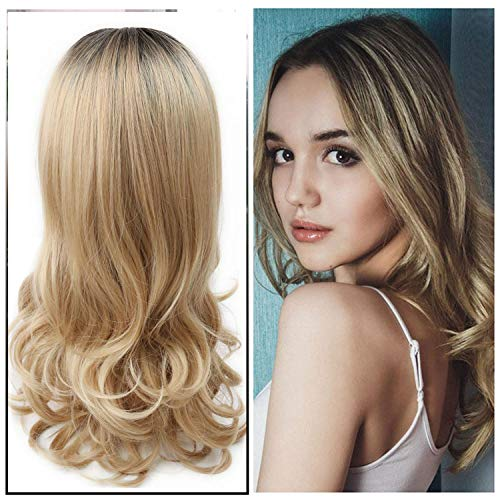 2020 New Long Wavy Ombre Dark Roots To Blonde Hair Replacement Wigs, Middle Part Hair Line Beautiful Looking Heat Resistant Synthetic Wigs For Womean Daily Party Cosply Wigs