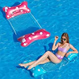 Pool Floats Adult Size, 2 Pack Bow Design Water Floats for Swimming Pool Lake Floating Beach Ocean Sea, Inflatable & Foldable Mesh Pool Float, Pool Hammock Floaties Toy, Pink & Blue