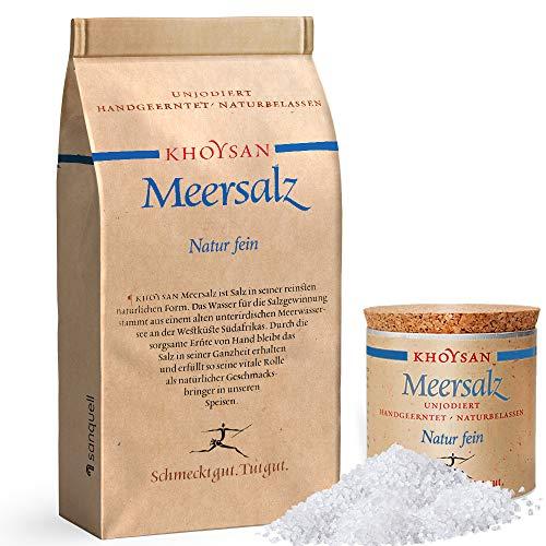Sanquell GmbH Khoysan Meersalz Natur fein | Gourmetsalz vollkommen naturbelassen | frei von Zusätzen | 1kg Nachfüllpaket & 200g Dekobox (gefüllt)