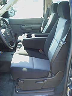Durafit Seat Covers C1128 L1/V7 Chevy Silverado LS 40/20/40 Exact Seat Covers in Black Leatherette/Gray Foam Backed Velour.