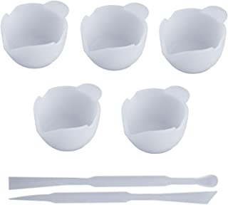 シリコンモールド レジン道具 調色パレット 5枚 調色スティック 2本 UVレジン用ツール絵皿 おわん型 パレット DIY 手芸 UVレジン用具 (おわん型)