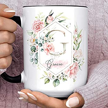 Pink Roses Floral Monogram Initial Coffee Mug | Pretty Spring Floral Bridesmaid Gift Microwave Dishwasher Safe Personalized Cup