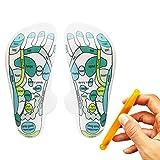 Foot Massage Socks, Ksndurn Acupressure Reflexology Socks 2 Pack (4 Pcs) with Massage Stick - Yoga Socks for Fitness Sports Training,Cotton,Breathable,Moisture Wicking Socks,One Size