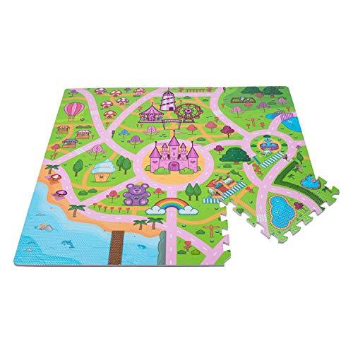 Leo & Emma Hochwertige Puzzlematte Spielstraße Kinder-Spielteppich Spielmatte mit Straßenzug Als Krabbelmatte zum Toben, mit tollem Straßenmuster als Spieldecke Neu Modell 2020 TÜV getested