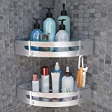 Magicfun Bathroom Corner Shelf No Drilling, Bath Shower Caddy with 4 Hooks, Space Aluminum Shower Basket Storage, Stainless Steel Triangular Wall Mounted Tray with Polished Finish (2 Pack, Silver)
