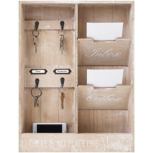 Wohaga® Wandorganizer \'In & Out\' - Memoboard mit Schlüsselbrett und 2 Holztaschen, 48x36x7cm, Holz Memotafel Flur Diele Dekoration