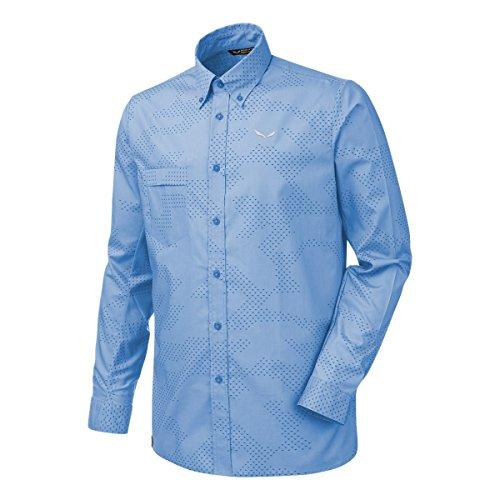 Salewa Puez Camo Dry SRT Herren Langarm Hemd, Herren, Puez Camo Dry SRT, Blau (camo Vista bl/Blue b)