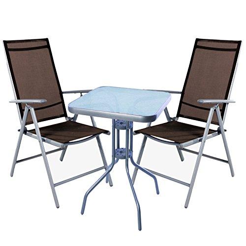 mojawo Ensemble de bistro 3 pièces Bistro Table Métal 60 x 60cmh70 cm + 2 chaises pliantes en aluminium/textile gris argenté/chocolat