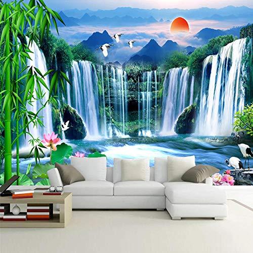 Msrahves fotomurales decorativos pared 3d modernos Cascada loto naturaleza paisaje 200X100CM Fotomural TV Foto Mural Pared 3DFotomurales decorativos Papel tapiz estéreo 3D Fotomurales 3D Fotomural Vin