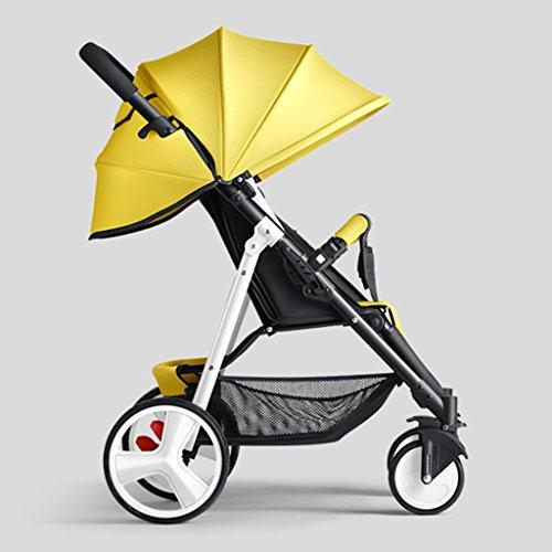 Kinderfiets HAIZHEN kinderwagen Babywagen Kan Zitten/liggen Opvouwbare Draagbare Trolley Wit Staal Frame Aangepaste Zonneschermen Zonbescherming Anti-UV Babyvervoer voor pasgeborenen