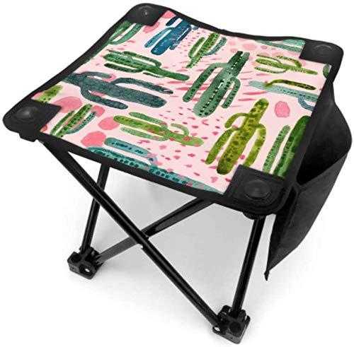 Kay Sam Pequeño Taburete Plegable para Acampar, Taburete para Acampar, Hermosa Planta Verde, Flores de Cactus, sillas de Camping portátiles, Que viajan con Bolsa de Transporte