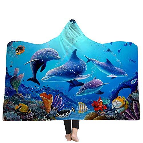 Zhengq Ocean World Belle Plage Coucher du Soleil Frais 3D Imprimer Sherpa Fleece Couvertures À Capuchon Portable Hiver-150 * 200 cm