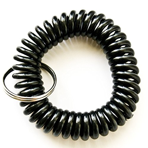 100PCS Black Color Soft Spring Spiral Coil Elastic Wrist Band Key Ring Chain