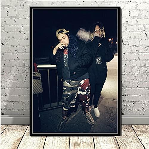 WuChao丶Store Impresiones de Carteles $ Uicideboy $ Hip Hop Música Rapero Cantante Estrella Lienzo Pintura Arte Cuadros de Pared para Sala de Estar Decoración del hogar 50x70 cm W1158