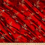 Chinese Brocade Sateen Bamboo Red, Fabric by...