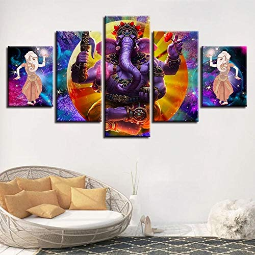 BHJIO 5 Piezas Cuadros Modernos Impresión De Imagen Artística Digitalizada Lienzo Decorativo para Tu Salón O Dormitorio Dios Hindú, Ganesha Regalo 150 X 80 Cm.