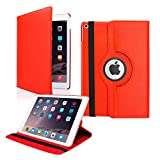 TGK 360 Degree Rotating Leather Auto Sleep Wake Function Smart Case Cover for iPad Air 2 (2014) (A1566, A1567) (Red)