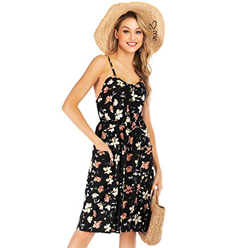 YYH Damesjurk, bloemenprint Boheemse maxi-jurk party-jurk casual flowy zomerjurk strandjurk Large zwart