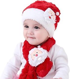 985aa721891ce Ensemble chapeau de Noël écharpe, Yansion enfant corail velours élastique bonnets  rouges chapeau avec motif